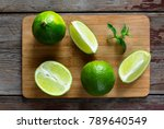 lime and mint on the kitchen...   Shutterstock . vector #789640549