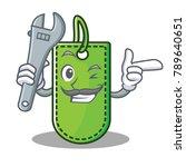 mechanic price tag mascot...   Shutterstock .eps vector #789640651