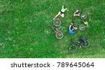 family cycling on bikes... | Shutterstock . vector #789645064