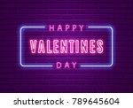 happy valentines day. neon... | Shutterstock .eps vector #789645604