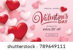 Valentines day sale poster with red and pink hearts background | Shutterstock vector #789649111