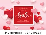 valentines day sale poster with ... | Shutterstock .eps vector #789649114