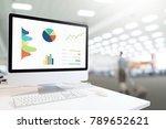 modern computer with keyboard...   Shutterstock . vector #789652621