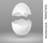 opened white egg with broken... | Shutterstock .eps vector #789657691