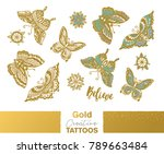 flash tattoo gold  silver and... | Shutterstock .eps vector #789663484