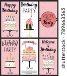 happy birthday party cards set...   Shutterstock . vector #789663565