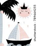 card in scandinavian style with ... | Shutterstock .eps vector #789664255