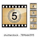 filmstrip countdown from 5 to 1 | Shutterstock .eps vector #789666595