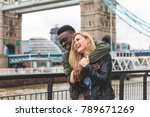 happy multiracial couple in... | Shutterstock . vector #789671269