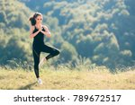 woman in tree yoga pose wearing ... | Shutterstock . vector #789672517