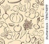 seamless pattern  vegetables... | Shutterstock . vector #789674899