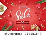 valentine's day sale web banner.... | Shutterstock .eps vector #789681544