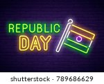 india day neon sign. flag of... | Shutterstock .eps vector #789686629