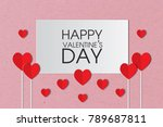 happy valentines day message on ... | Shutterstock . vector #789687811