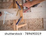 carpenter using electrical saw... | Shutterstock . vector #789690319