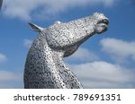 Small photo of FALKIRK, SCOTLAND - May 9, 2017 : The Kelpies sculpture by Andy Scott in Helix Park, Scotland, United Kingdom