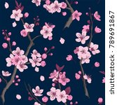 sakura. seamless pattern. pink... | Shutterstock .eps vector #789691867