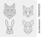 Stock vector a set of geometric linear polygonal wild animals abstract head of a wild boar wolf rabbit and fox 789693325