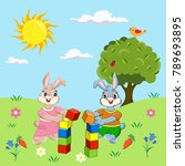 two rabbits on the lawn  the... | Shutterstock .eps vector #789693895