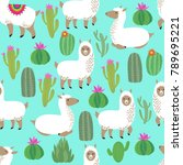 alpaca seamless vector pattern. ... | Shutterstock .eps vector #789695221