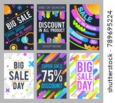 modern sale banners in material ... | Shutterstock .eps vector #789695224