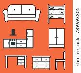 icons of furniture on orange... | Shutterstock .eps vector #789698305