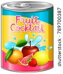 fruit cocktail in aluminum can... | Shutterstock .eps vector #789700387