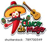red chili with mexican hat and... | Shutterstock .eps vector #789700549
