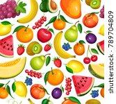 vector berries and fruits... | Shutterstock .eps vector #789704809
