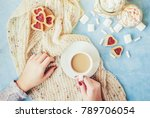 coffee with milk in the hands... | Shutterstock . vector #789706054