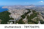Small photo of Aerial bird view photo of mountain town