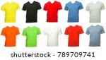 various colored plain short... | Shutterstock . vector #789709741