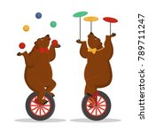 circus bears juggle on a... | Shutterstock .eps vector #789711247