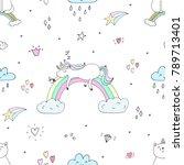 cute hand drawn unicorn ... | Shutterstock . vector #789713401