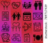 valentine's day vector icon set ... | Shutterstock .eps vector #789717439