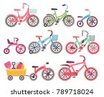kids bicycles vector set.... | Shutterstock .eps vector #789718024