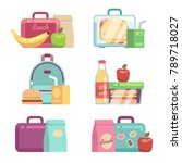 kids snacks. school lunch boxes ... | Shutterstock .eps vector #789718027