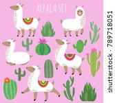 mexican white alpaca lamas and... | Shutterstock .eps vector #789718051
