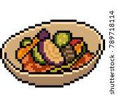 vector pixel art food salad... | Shutterstock .eps vector #789718114
