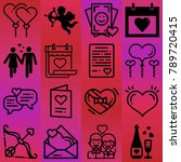 valentine's day vector icon set ... | Shutterstock .eps vector #789720415