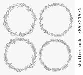 hand drawn wreaths vector.... | Shutterstock .eps vector #789721975