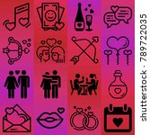 valentine's day vector icon set ... | Shutterstock .eps vector #789722035