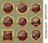 set of golden badges | Shutterstock .eps vector #789722359