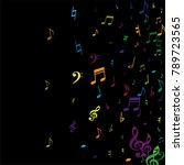 color flying musical notes...   Shutterstock .eps vector #789723565