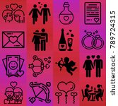 valentine's day vector icon set ... | Shutterstock .eps vector #789724315