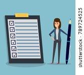 happy businesswoman holding pen ... | Shutterstock .eps vector #789724525