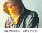 hooded gang member criminal...   Shutterstock . vector #789724891