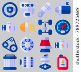 icon set about car engine with... | Shutterstock .eps vector #789725689