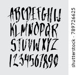 hand drawn alphabet in style... | Shutterstock .eps vector #789726625