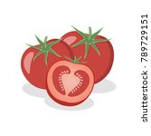 tomatoes on a white background. ... | Shutterstock .eps vector #789729151